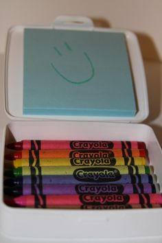 On the go Crayon Box - Soap box + Post-it's, and crayons. Will keep in my purse.  BRILLIANT!