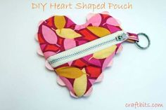 Create a cute heart shaped zipper pouch using this tutorial with step by step directions and pictures.