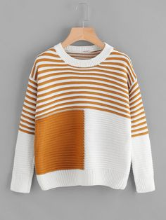 Alion Mens Stylish V-Neck Pullover Stripe Contrast Color Knitted Sweater Tops