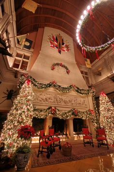 Christmas at Biltmore House 2016 - fireplace in Banquet Hall. Click for photo tour.