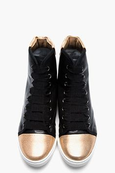 LANVIN Black leather High-Top Gold Toe Sneakers