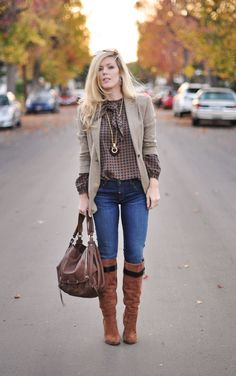 https://flic.kr/p/aQGsGD | fashion-style-outfit-jeans and boots-tweed blazer-vintage blouse-blonde hair | www.lovemaegan.com/2011/12/shes-got-electric-boots-mohair...