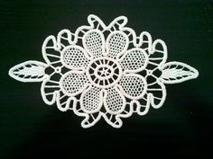 "Crocheted Doily, Romanian Point Lace Style, Ivory, Floral Pattern, 10"" x 6"""