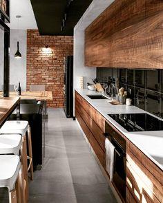 New Kitchen Appliances White Interior Design Ideas Wooden Kitchen, New Kitchen, Kitchen Decor, Kitchen Industrial, Industrial Bedroom, Kitchen Modern, Industrial Loft, Industrial Design, Kitchen Ideas