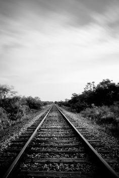 Long exposure of train tracks, Texas.  Black and white