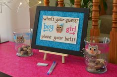 Guess if it is a boy or girl at a Gender Reveal baby shower!  See more party ideas at CatchMyParty.com!  #partyideas #babyshower