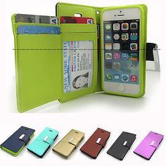 Dual Wallet Leather Book Flip Case Cover For Apple iPhone /Samsung Galaxy S / LG