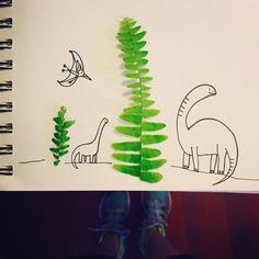 Happy Tiny Tree Tuesday  #natureart #illustration #dino by mimimangrum