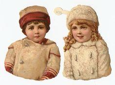 Victorian Die Cut Snow Children
