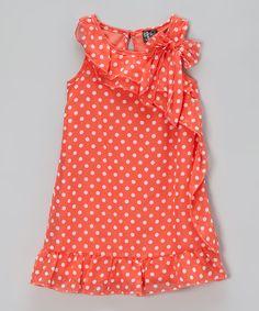 Coral Polka Dot Ruffle Dress - Toddler & Girls