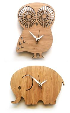 I want the elephant clock! Wooden Owl, Wooden Animals, Wooden Crafts, Wooden Elephant, Owl Clock, Clock Art, Wood Clocks, Wooden Watch, Scroll Saw