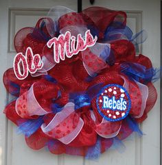 Ole Miss Rebels Hotty Toddy Mesh Wreath
