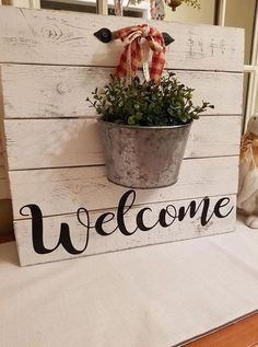 , Garden Sign Welcome Sign Farmhouse Style Coastal. , Garden Sign ~ Welcome Sign ~ Farmhouse Style ~ Coastal Farmhouse ~ Rustic ~ Shiplap ~ Cottage Sign Farmhouse Signs, Rustic Farmhouse, Farmhouse Garden, Farmhouse Front, Rustic Wood, Cottage Signs, Deco Originale, Deco Floral, Pallet Crafts