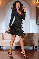 Fringe little black dress | Boston Proper