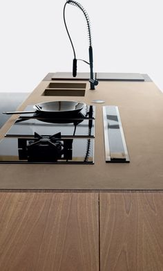 Cement kitchen with island WIND ETA BEIGE Wind Collection by TONCELLI CUCINE