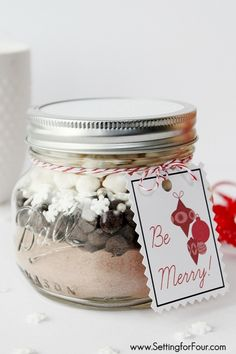 Mason Jar Gift : Snowflake Hot Chocolate | www.settingforfour.com -I might use the cup of cheer printable with the hot cocoa on a stick though