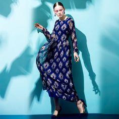 Blue Summer Dress Long-Sleeve Bohemia Style Printed Silk Maxi Dress Full-Length #WE #Maxi #Casual