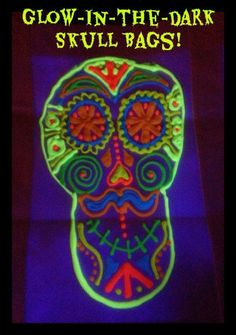Glow-in-the-dark skull bags for an easy tween Day of the Dead craft. #MulticulturalArtsandCrafts