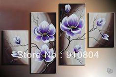 Encadrée 4 panneau. haut de gamme grand violet tulipe peinture sur toile art décoration murale image l0391