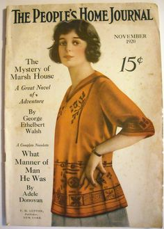 """1920 """"People's Home Journal"""" skirt and blouse fashion for the average woman."""