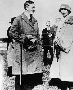 """bulletproofjewels:  Grand Duchess Victoria Feodorovna (Ducky) with Adolf Hitler, 1925.  It was said that Ducky was one of Hitler's 'favourite' royals, and she and her husband GD Cyril Vladimirovich sold their jewels in order to finance Hitler's campaigns. They did so in the hope that Tsarist Russia would be restored, as Cyril had nominated himself as Emperor pretender in exile. She supported the Nazi"""" party in 1922, before Hitler's evil was identifiable."""