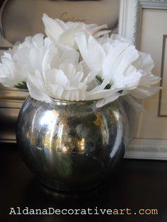 Medium Round Vase   Faux Mercury Glass by AldanaArt on Etsy