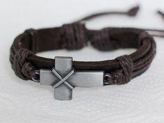 186Handmade brown men's leather bracelet Stylized metal cross Men jewelry Christ...