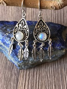 Vintage moonstone earrings boho earrings gypsy earrings