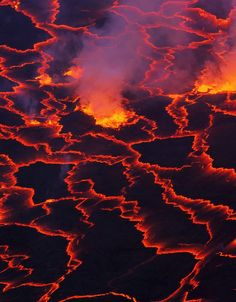 Nyiragongo with lava meltings and fountains