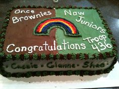 Cake for girl scout bridging from brownies to juniors *this was fun!*