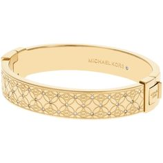 Michael Kors Gold Toned Clear Hinge Bracelet, Gold (€210) ❤ liked on Polyvore featuring jewelry, bracelets, jade bangle, gold bangles, gold jewelry, bracelet bangle and michael kors bracelet