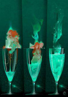 absinthe the green fairy. Green Fairy Absinthe, Character Art, Character Design, Illustration Art, Illustrations, Expo, Pics Art, Art Inspo, Fantasy Art