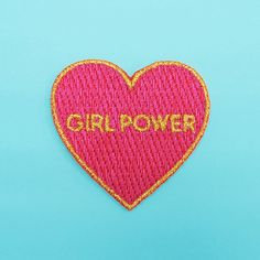 GIRL POWER iron-on patch! This patch is 100% embroidered, so it has a smooth satiny finish. It measures 4,5 (W) x 4,5 (H) cm. HOW TO USE: 1. Set