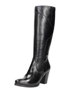 Tamaris elegante zwarte leren laarzen met slangenprint detail op de hak