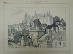 A Beautifully Detailed, Original Plan of the Upper Town and Chateau in Loches, France. Unknown, Architects. From the American Architect and Building News, December 22, 1894. This picture is extremely