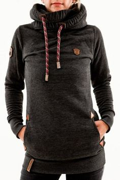 Stylish Hooded Long Sleeve Spliced Women's Pullover Hoodie Sweatshirts & Hoodies | RoseGal.com Mobile