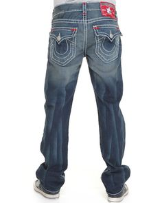 True Religion Men Ricky Straight Leg Flap Back Pckt Jeans W/ Color Light Indigo 31
