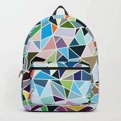 A low poly and a mosaic style pattern in backpack. Affordable, available at Art Bag, Low Poly, Pattern Fashion, Cool Stuff, Stuff To Buy, Fashion Backpack, Cool Art, Mosaic, Backpacks