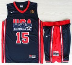 95c6e9761d35 USA Basketball 1992 Olympic Dream Team Blue Jerseys   Shorts Suits 15   Magic Earvin Johnson