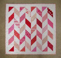 Meadow Mist Designs: Blogger's Quilt Festival - Pink Broken Herringbone Quilt