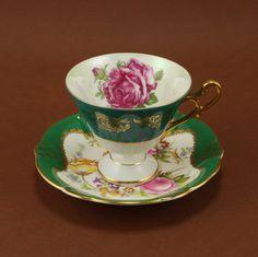 Royal Halsey China Footed Teacup Saucer Pink Roses Teal Vtg.