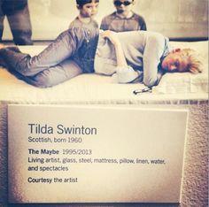 "Tilda Swinton at MOMA Exhibition named ""The Maybe"" Tilda Swinton, Institutional Critique, Instalation Art, Call Art, Exhibition Display, Art For Art Sake, Kawaii, Conceptual Art, Moma"