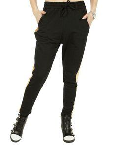 Pantalon Dama Fashion Jewelry  Pantalon dama sport, usor de purtat. Material fin la atingere, pufos pe interior ce poate fi purtat si in sezonul rece.  Detaliu dunga aurie pe lateralul piciorului.     Compozitie: 94%Bumbac, 6%Elasten