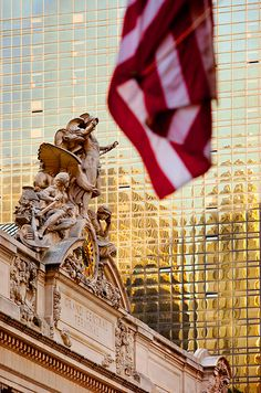 American flag outside Grand Central Station, New York