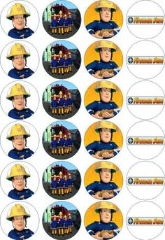 24 x 4.5cm FIREMAN SAM #1 EDIBLE RICE/WAFER PAPER CUPCAKE TOPPERS | eBay: