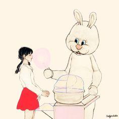 """(솜사탕을 파는 토끼 - 3/3) 머뭇거리는 나에게 토끼는 다시 말했다 """"넌 이 꿈에서 깨어나고 싶지 않은 거야?"""" 내가 대답도 하기 전에  토끼는 내 입 속에 솜사탕을 집어 넣었다"""