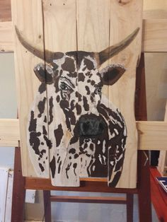 Nguni on pallet wood 600 x 400 by Nerine Painting On Wood, Painting & Drawing, Wood Pallets, Pallet Wood, Types Of Art, Art Studios, Cattle, Painting Inspiration, Diys