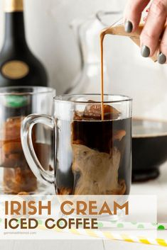 Summer is here! We took the classic flavor combination of Irish Cream and coffee and made a drink for all of the coffee lovers out there. Irish Cream Iced Coffee, it's dessert in a glass! #irishcream #coffee #drinks #icedcoffee