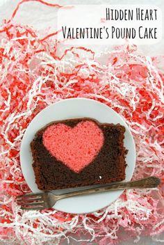 A whimsical Valentine's recipe: Hidden Heart Valentine's Pound Cake. Chocolate pound cake with a cherry-flavored heart hidden inside. Gluten Free Pound Cake, Pound Cake Recipes, Pound Cakes, Cupcakes, Cupcake Cakes, Mini Cakes, Valentine Cake, Valentines Day Treats, Teacher Valentine