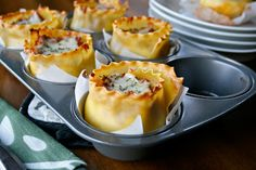 Lasagna Cups - Cute way to serve lasagna and to also feed my addiction of wanting to cook everything in jumbo muffin pans.